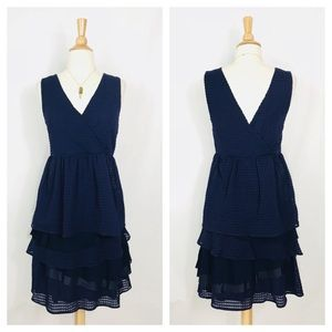 Anthropologie Ric Rac Tiered V Neck Dress Navy
